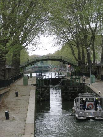 Some of the nine locks along the Canal Saint-Martin