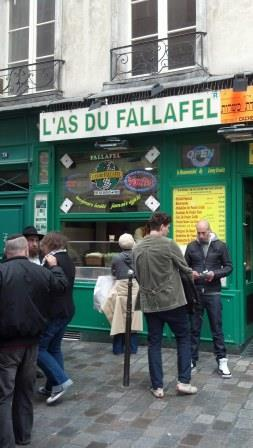 A specialty of the Marais: falafel. Will definitely get back for a taste of these.
