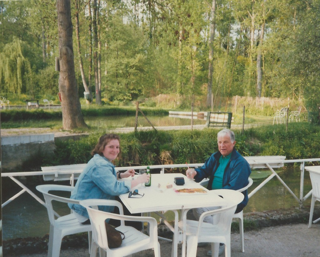 Dad and I that trip, at a favorite watering hole (more for the drinks, but there is a trout farm alongside...)