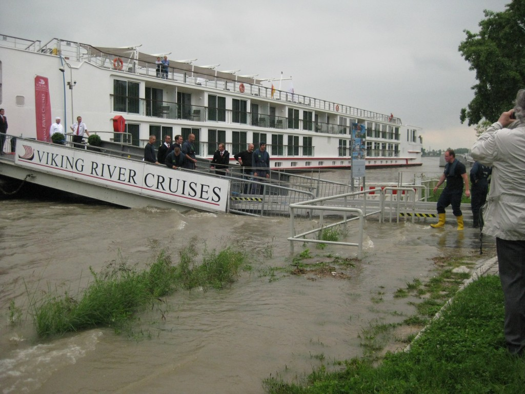 Our ship docked at Breisach, you can see the usual gangway under water, an additional walkway added for our use.