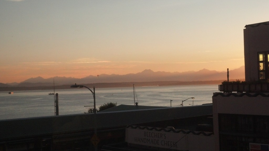 Yeah, it's another sunset view of the Olympic Mountains. But to me there are few things that stir my soul more. This from the lively and delicious Steelhead Diner in the Pike Place Market, with a glimpse of Beecher's Cheese below.